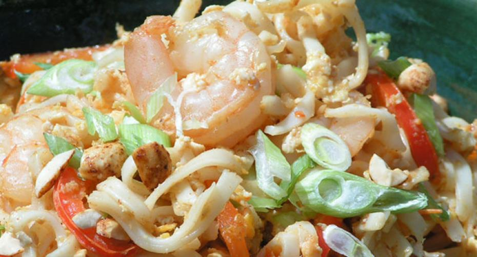 King prawn pad thai cooked on the Weber Spirit II E-310 gas BBQ