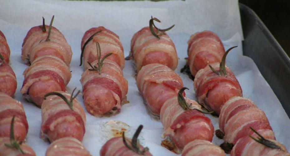 Pigs in blankets cooked on the Traeger Pro 22 wood pellet grill