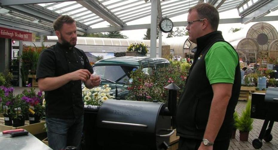 Richard Holden with Ian Hodgett of Hayes Garden World explaining the Traeger