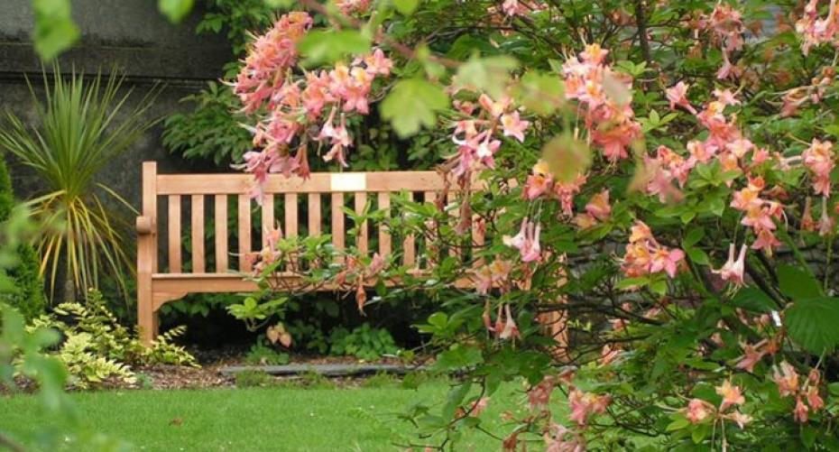 Seat in the garden at Rydal Hall