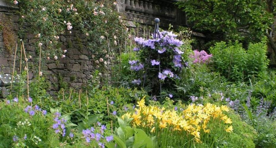 Herbaceous border at Rydal Hall, Lake District, Cumbria
