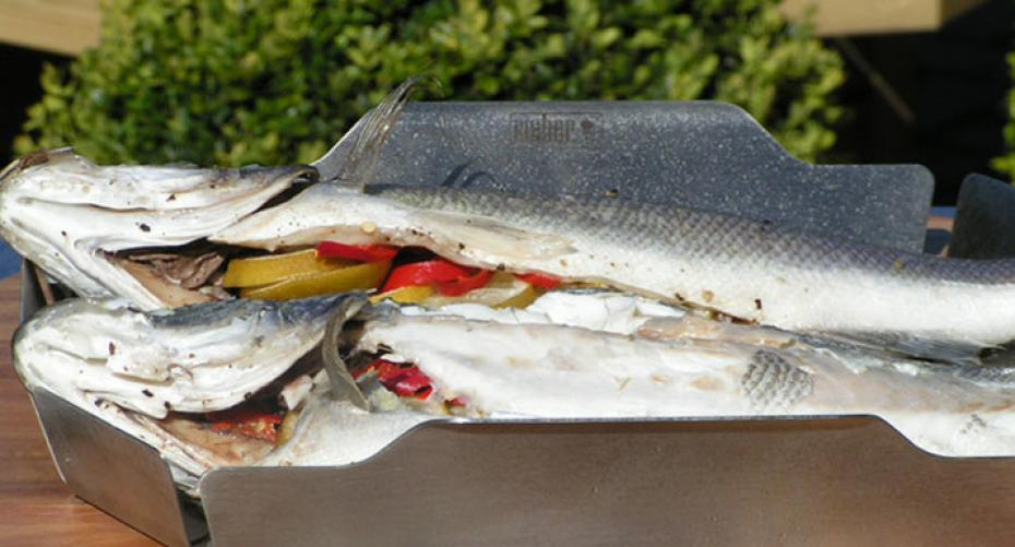 Seabass with lime, chilli & black pepper cooked in the Weber GBS wok steamer