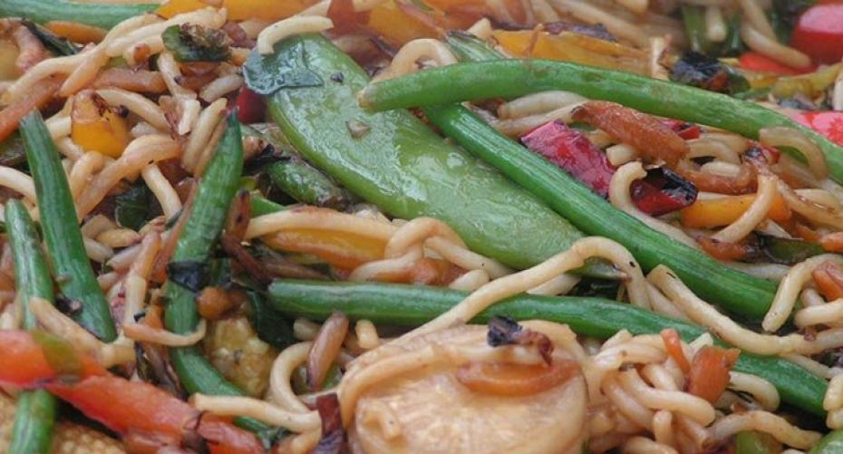 Oriental vegetable stir fry cooked in the GBS wok on the BBQ