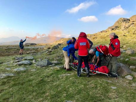 Coniston Mountain Rescue Team awaiting helicopter