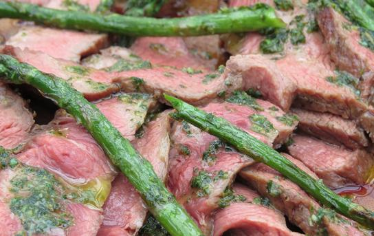 flat iron steak with asparagus & salsa verde cooked on the Weber Smokey Joe BBQ