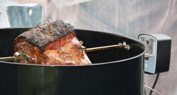 Roast rib of beef on the rotisserie accessorie on the Weber MasterTouch BBQ