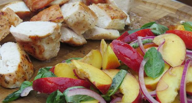 Chicken & nectarine salad cooked on the Weber Go-Anywhere charcoal BBQ