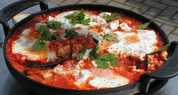 Baked eggs in spicy tomato sauce & feta cheese cooked on the BBQ