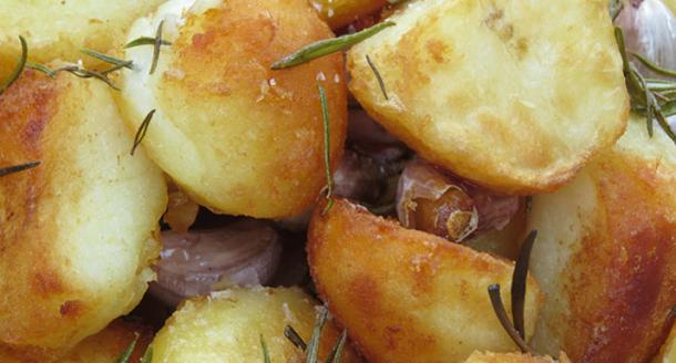 Garlic rosemary roast potatoes cooked on the Weber Genesis II LX gas BBQ
