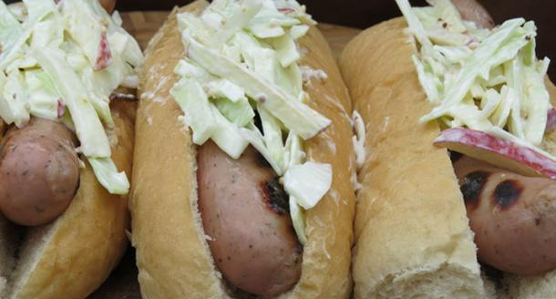 Cumberland sausage hot dogs with apple slaw cooked on the Weber Q1200 gas BBQ