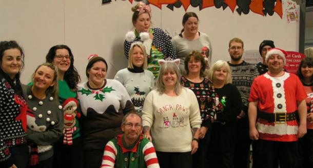 Hayes Garden World staff wearing Christmas jumpers for Christmas Jumper Day