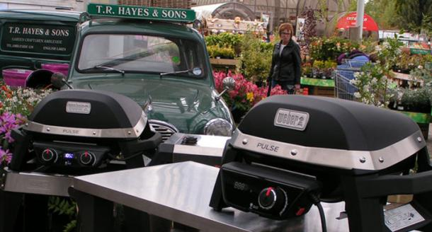 Weber Pulse 1000 and 2000 electric BBQs in the plant nursery at Hayes
