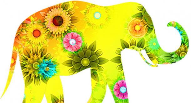 elephant graphic in flowers