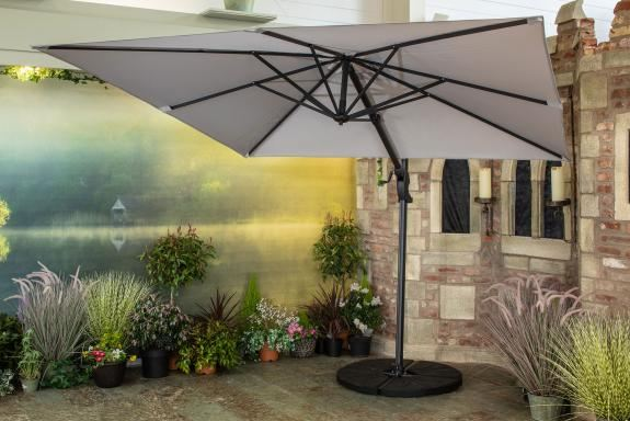 Norfolk Leisure 2.6m Square Deluxe Cantilever Parasol in Mouse Grey & Parasol Base Offer