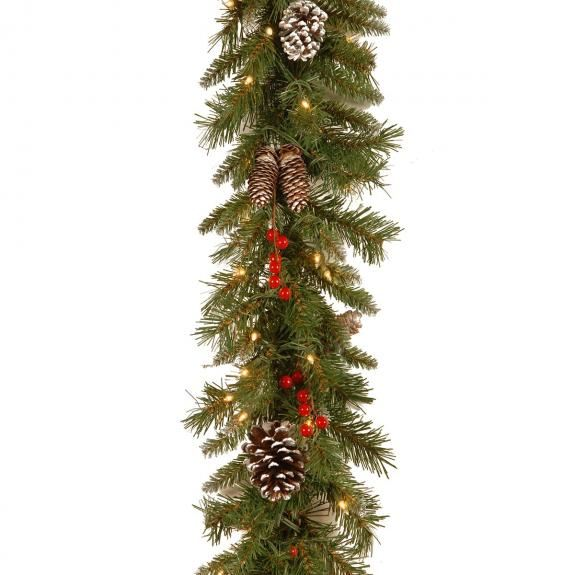 9ft Pre-lit Frosted Berry Artificial Christmas Garland