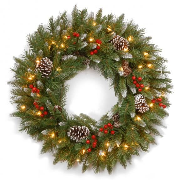2ft Pre-lit Frosted Berry Artificial Christmas Wreath