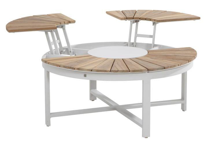 4 Seasons Outdoor Forio Round Adjustable Teak Top Coffee Table 105m