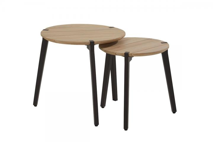 4 Seasons Outdoor Set Of Two Gabor Round Teak Top Coffee Tables