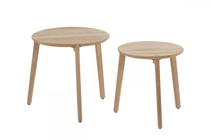 4 Seasons Outdoor Set Of Two Gabor Round Teak Coffee Tables