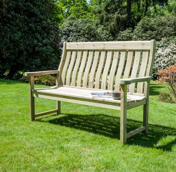Alexander Rose Pine High Back Bench 5ft Hayes Garden World