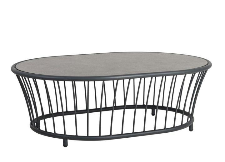 Alexander Rose Cordial Grey Aluminium Oval Coffee Table