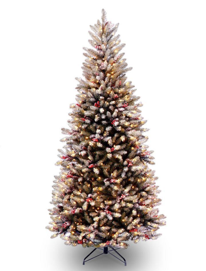 7ft Pre-lit Snowy Dunhill Fir Slim Artificial Christmas ...