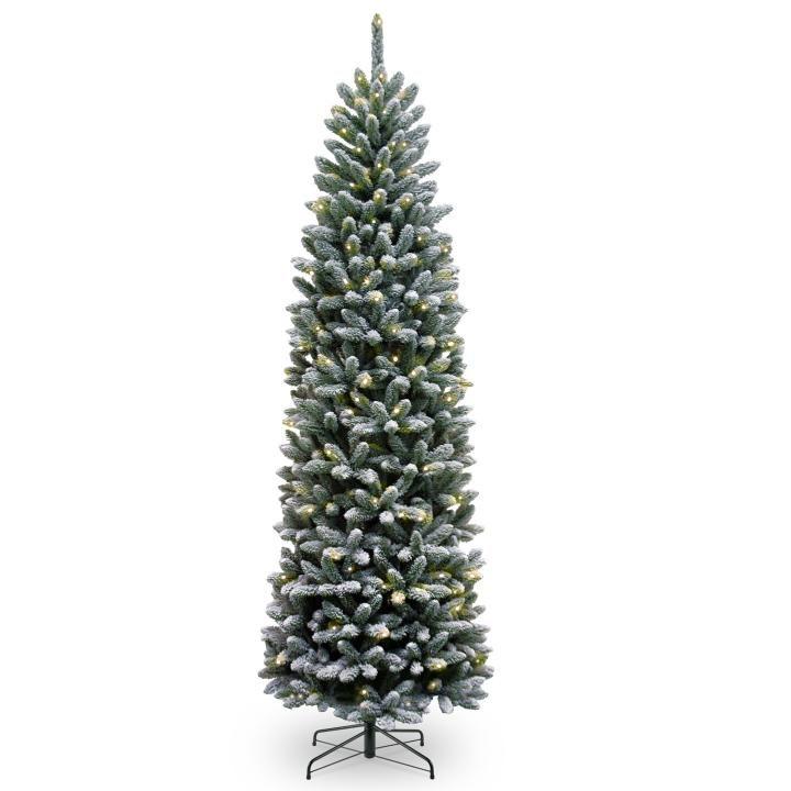 7ft Black Pre Lit Christmas Tree: 7ft Pre-lit Snowy Kingswood Fir Pencil Artificial