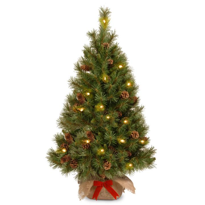 Small Christmas Trees Uk: 4ft Pre-lit Battery Operated Pine Cone Burlap Artificial