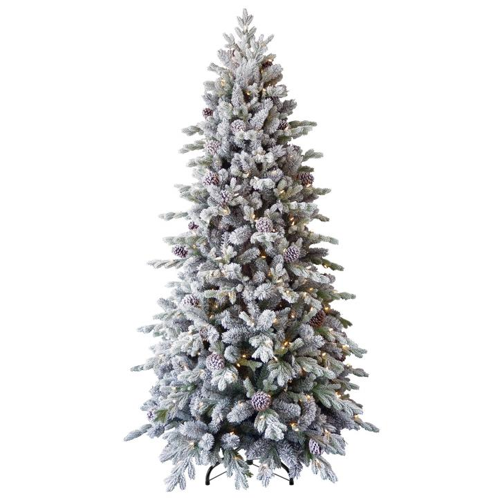 8ft Pre Lit Snowy Dorchester Pine Feel Real Artificial Christmas Tree Hayes Garden World