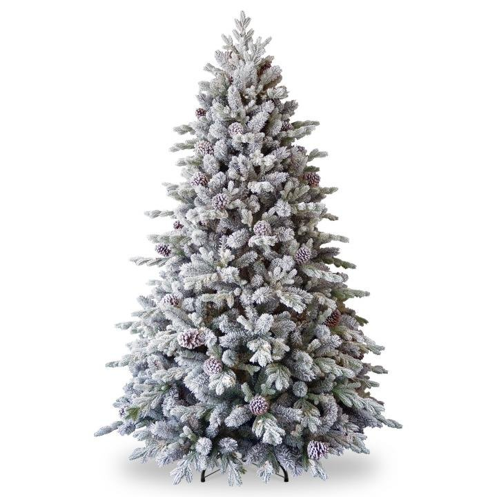 Real Or Fake Christmas Tree: 7.5ft Snowy Dorchester Pine Feel-Real Artificial Christmas