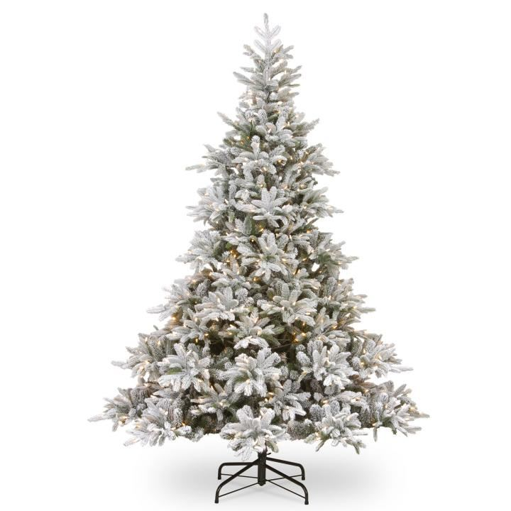 Pe Christmas Trees Uk: 7.5ft Pre-lit Frosted Andorra Fir Feel-Real Artificial