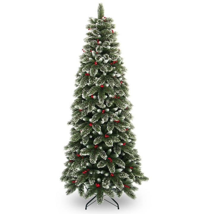 Westbury Gardens Winter: 8ft Snowy Westbury Pine Slim Artificial Christmas Tree