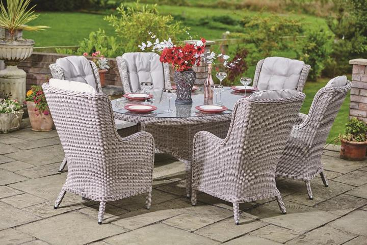 Supremo Basilio 6 Seat Oval Dining Set Weave Garden
