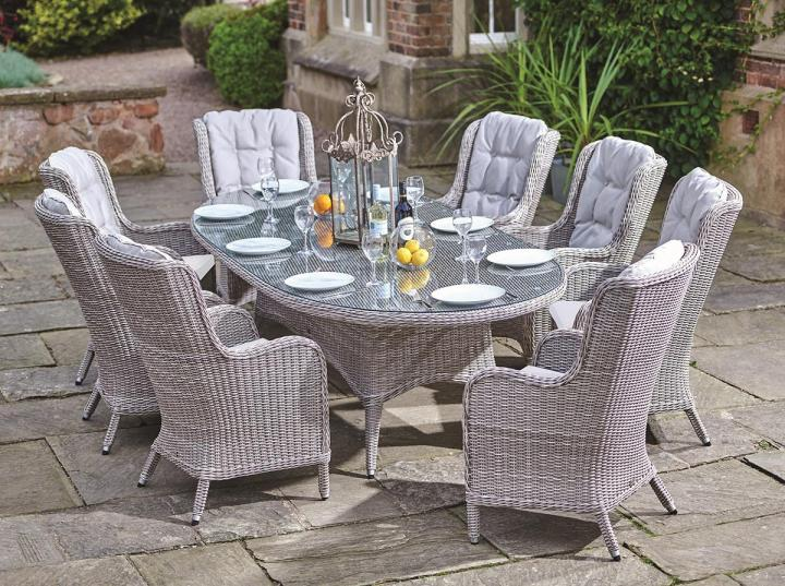 Tremendous Supremo Basilio 8 Seat Oval Dining Set Weave Garden Home Interior And Landscaping Ponolsignezvosmurscom