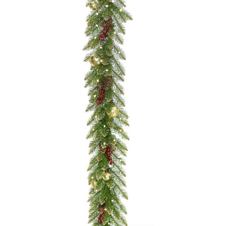 e5a51b74e7f 9ft Pre-lit Glittery Gold Dunhill Fir Slim Artificial Christmas Garland