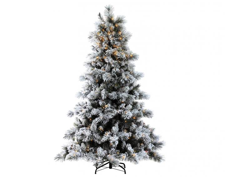 7ft Pre Lit Nordic Pine Glittery Flocked Artificial Christmas Tree
