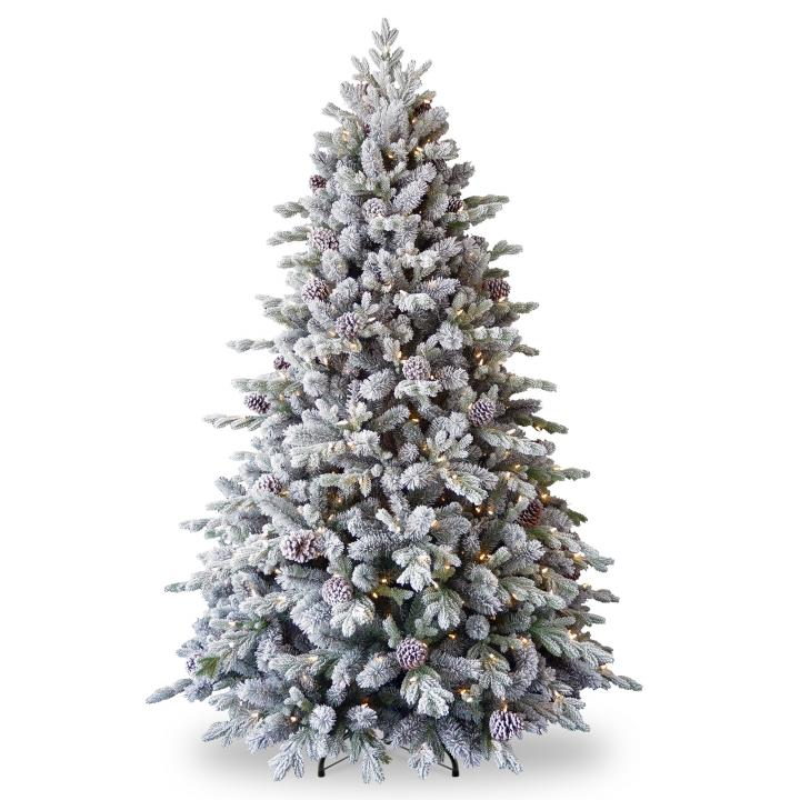 Pe Christmas Trees Uk: 6.5ft Pre-lit Snowy Dorchester Pine Feel-Real Artificial