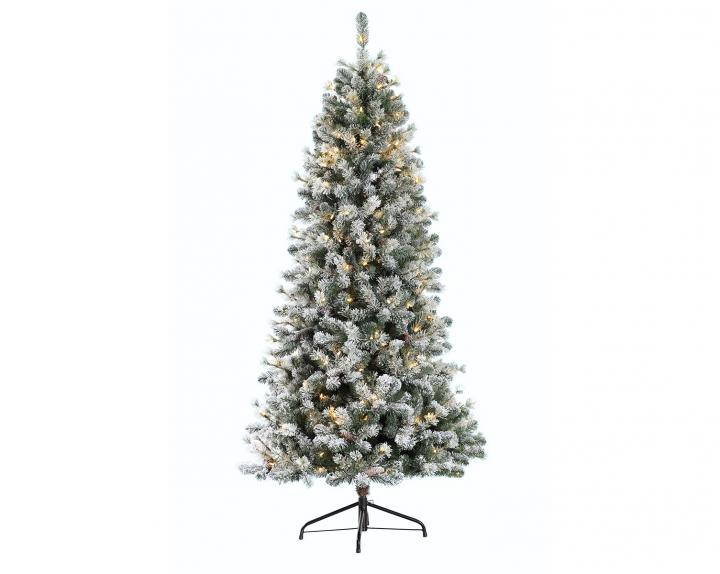 6.5ft Pre-lit Snowy Cone Pine Slim Artificial Christmas