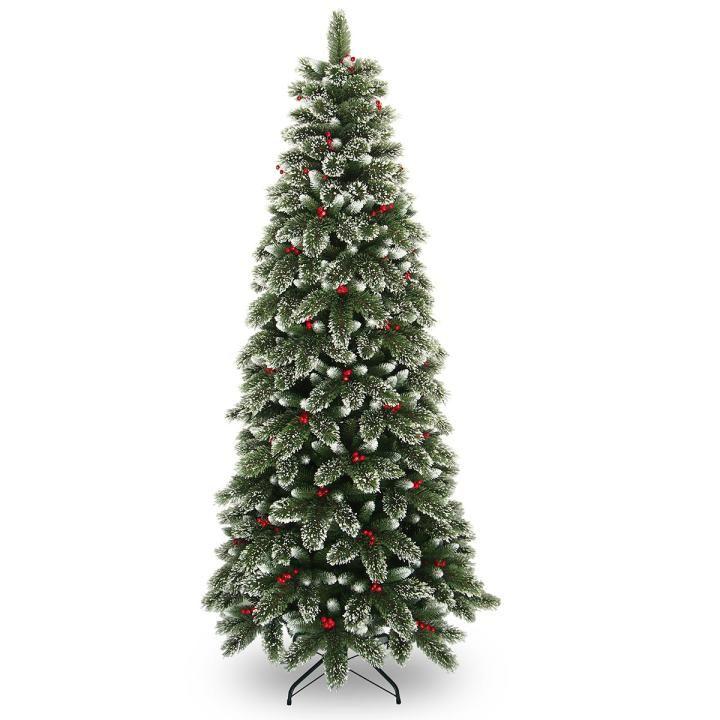 Westbury Gardens Christmas: 8ft Snowy Westbury Pine Slim Artificial Christmas Tree
