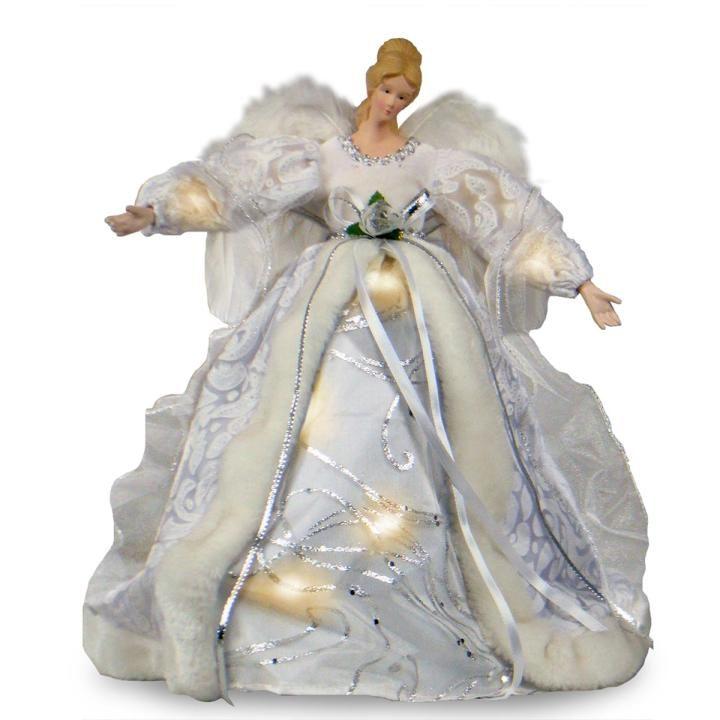 Christmas Angel Tree Topper.Pre Lit Christmas Angel Tree Topper White Hayes Garden World