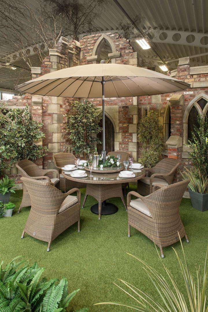 4 Seasons Outdoor Sussex 6 Seat Dining Set Woven Garden