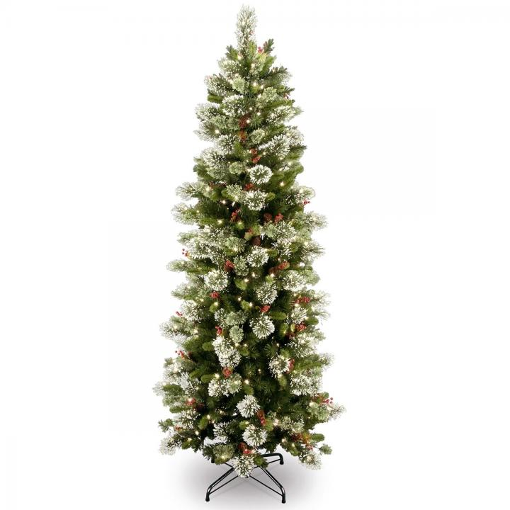 another chance 91cce 3b5aa 7ft Pre-lit Wintry Pine Slim Artificial Christmas Tree ...
