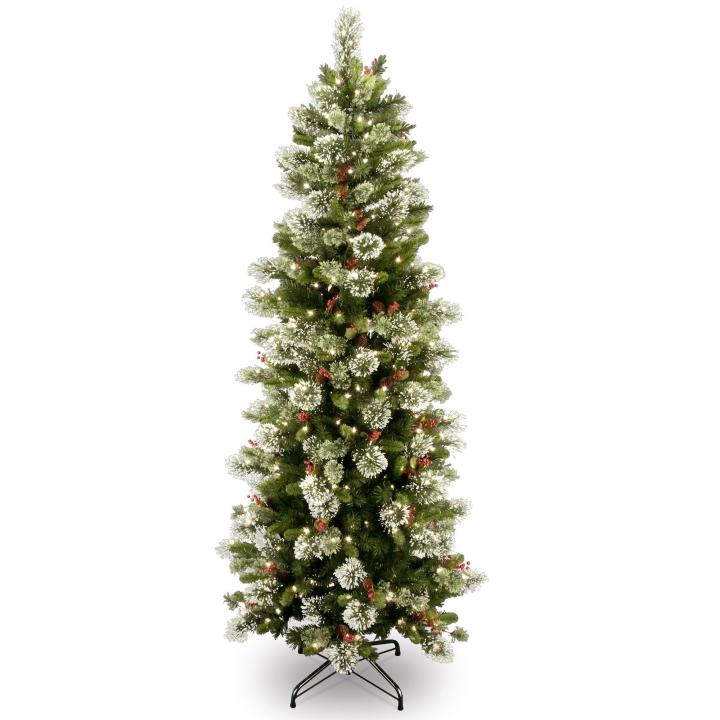 6ft Pre-lit Wintry Pine Slim Artificial Christmas Tree | Hayes Garden World - 6ft Pre-lit Wintry Pine Slim Artificial Christmas Tree Hayes