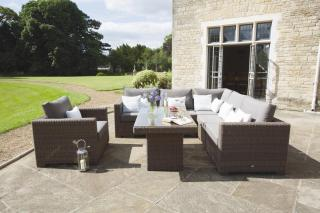 This modular set comes in light brown weave with Taupe all weather cushions.