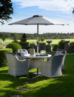 The stylish Monterey 120cm Round Dining Suite for Four is a fabulous set for entertaining within the garden.