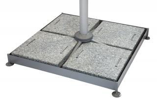 This heavy duty parasol base is made up of a frame, support tube & four granite slabs with handles.