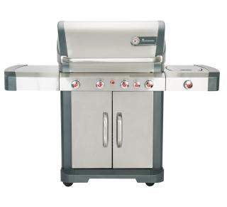 This stainless steel PTS+ 4 Burner Gas BBQ has infrared side, back & bottom burners too.