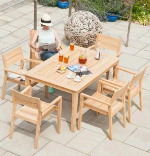 This 6 seater hardwood set has a simple design in Roble hardwood which is similar to teak.