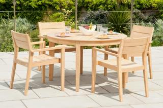 This 1.25m hardwood set has a simple design & the chairs will stack for storage.
