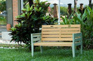 This painted eucalyptus hardwood bench would make a handy seat for two.